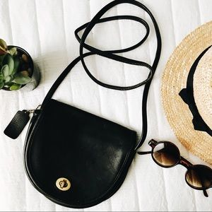 Small vintage coach leather saddle bag crossbody